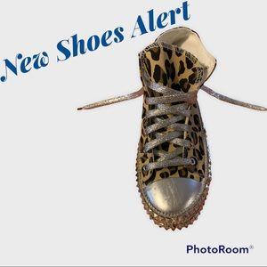 Brand New Women's 9-9.5 Cheetah & Spikes canvas sneaker.